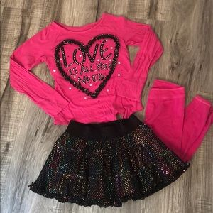 3 pc long sleeve shirt with skort and leggings